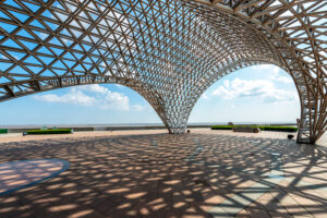 Steel frame structure in modern architecture