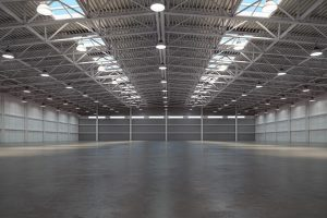 Empty warehouse interior. Storehouse building or storage room. 3d illustration